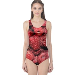 Red Raspberries One Piece Swimsuit by FunnyCow