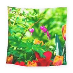 Bleeding Heart Flowers In Spring Square Tapestry (large) by FunnyCow