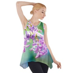 Beautiful Pink Lilac Flowers Side Drop Tank Tunic by FunnyCow