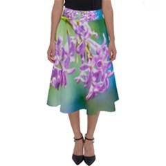 Beautiful Pink Lilac Flowers Perfect Length Midi Skirt by FunnyCow
