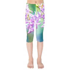 Beautiful Pink Lilac Flowers Kids  Capri Leggings  by FunnyCow