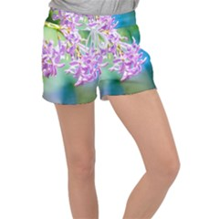 Beautiful Pink Lilac Flowers Women s Velour Lounge Shorts
