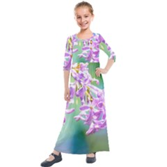 Beautiful Pink Lilac Flowers Kids  Quarter Sleeve Maxi Dress by FunnyCow