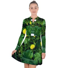 Yellow Dandelion Flowers In Spring Long Sleeve Panel Dress