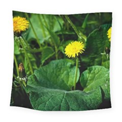 Yellow Dandelion Flowers In Spring Square Tapestry (large)