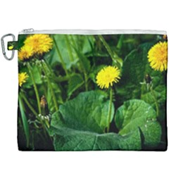 Yellow Dandelion Flowers In Spring Canvas Cosmetic Bag (xxxl) by FunnyCow