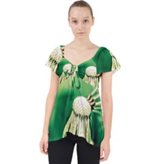 Dandelion Flower Green Chief Lace Front Dolly Top