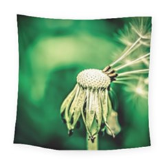 Dandelion Flower Green Chief Square Tapestry (large) by FunnyCow