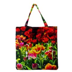 Colorful Tulips On A Sunny Day Grocery Tote Bag by FunnyCow