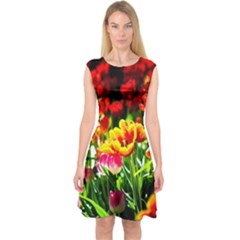 Colorful Tulips On A Sunny Day Capsleeve Midi Dress
