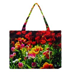 Colorful Tulips On A Sunny Day Medium Tote Bag by FunnyCow