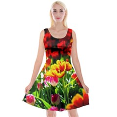 Colorful Tulips On A Sunny Day Reversible Velvet Sleeveless Dress by FunnyCow