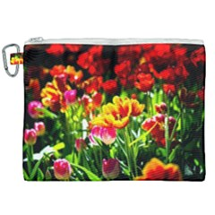 Colorful Tulips On A Sunny Day Canvas Cosmetic Bag (xxl) by FunnyCow