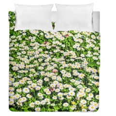 Green Field Of White Daisy Flowers Duvet Cover Double Side (queen Size) by FunnyCow