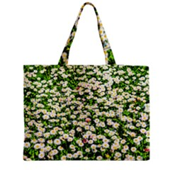 Green Field Of White Daisy Flowers Zipper Medium Tote Bag by FunnyCow