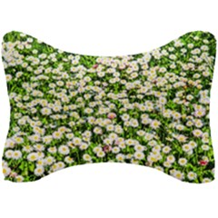 Green Field Of White Daisy Flowers Seat Head Rest Cushion