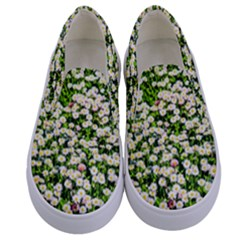 Green Field Of White Daisy Flowers Kids  Canvas Slip Ons
