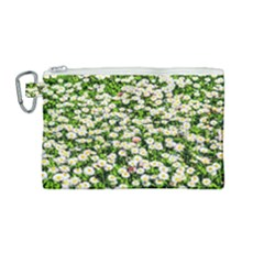 Green Field Of White Daisy Flowers Canvas Cosmetic Bag (medium) by FunnyCow