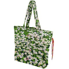 Green Field Of White Daisy Flowers Drawstring Tote Bag by FunnyCow