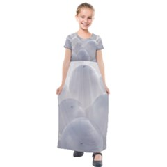 White Toy Balloons Kids  Short Sleeve Maxi Dress