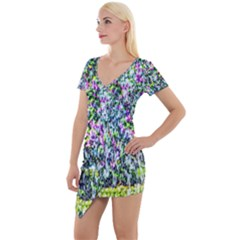 Lilacs Of The First Water Short Sleeve Asymmetric Mini Dress