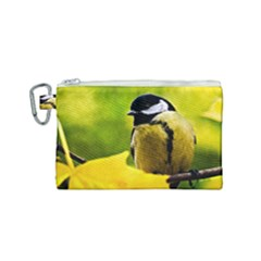 Tomtit Bird Dressed To The Season Canvas Cosmetic Bag (small) by FunnyCow