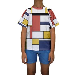 Neoplasticism Style Art Kids  Short Sleeve Swimwear by FunnyCow