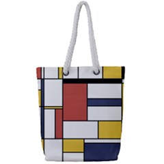 Neoplasticism Style Art Full Print Rope Handle Tote (small) by FunnyCow