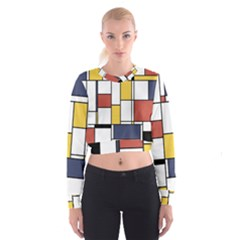 De Stijl Abstract Art Cropped Sweatshirt by FunnyCow