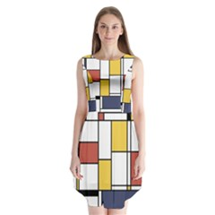 De Stijl Abstract Art Sleeveless Chiffon Dress