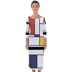 Abstract Art Of Avant Garde Quarter Sleeve Midi Bodycon Dress by FunnyCow