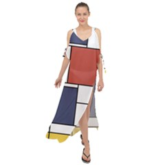 Neoplasticism Abstract Art Maxi Chiffon Cover Up Dress
