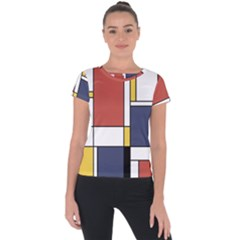 Abstract Art Of De Stijl Short Sleeve Sports Top