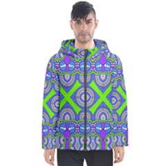 Purple Green Shapes                                        Men s Hooded Puffer Jacket by LalyLauraFLM