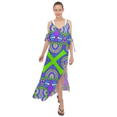 Purple Green Shapes                                          Maxi Chiffon Cover Up Dress by LalyLauraFLM
