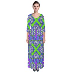 Purple Green Shapes                                          Quarter Sleeve Maxi Dress by LalyLauraFLM