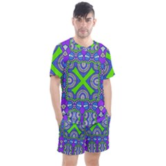 Purple Green Shapes                                      Men s Mesh Tee And Shorts Set by LalyLauraFLM