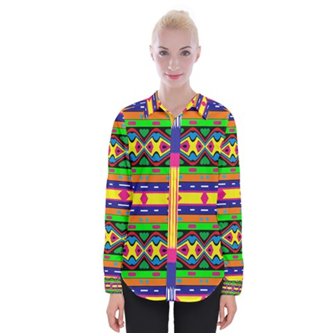 Distorted Colorful Shapes And Stripes                                    Women Long Sleeve Shirt by LalyLauraFLM