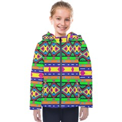 Distorted Colorful Shapes And Stripes                                        Kids  Hooded Puffer Jacket