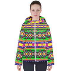 Distorted Colorful Shapes And Stripes                                        Women s Hooded Puffer Jacket by LalyLauraFLM