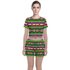 Distorted Colorful Shapes And Stripes                                   Crop Top And Shorts Co Ord Set