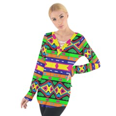 Distorted Colorful Shapes And Stripes                                          Women s Tie Up Tee by LalyLauraFLM