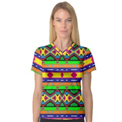 Distorted Colorful Shapes And Stripes                                         V Neck Sport Mesh Tee by LalyLauraFLM