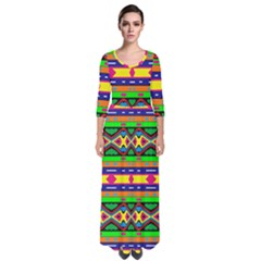 Distorted Colorful Shapes And Stripes                                           Quarter Sleeve Maxi Dress
