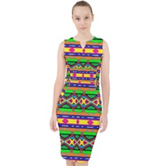 Distorted Colorful Shapes And Stripes                                           Midi Bodycon Dress by LalyLauraFLM