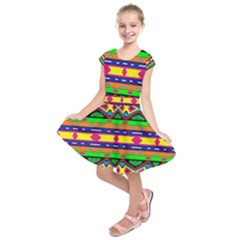 Distorted Colorful Shapes And Stripes                                             Kids  Short Sleeve Dress by LalyLauraFLM