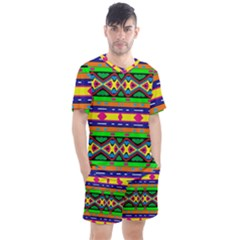 Distorted Colorful Shapes And Stripes                                       Men s Mesh Tee And Shorts Set