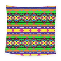 Distorted Colorful Shapes And Stripes                                        Square Tapestry by LalyLauraFLM