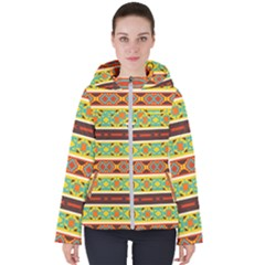 Ovals Rhombus And Squares                                         Women s Hooded Puffer Jacket by LalyLauraFLM