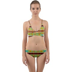 Ovals Rhombus And Squares                                            Wrap Around Bikini Set by LalyLauraFLM